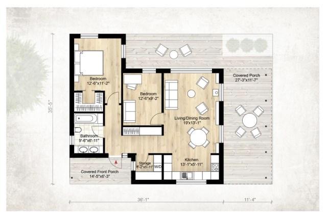 Plano en planta baja de casa familiar